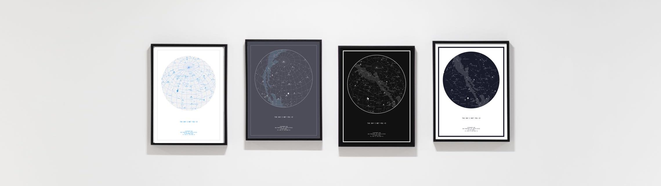 Night Sky custom star maps collection, framed on wall