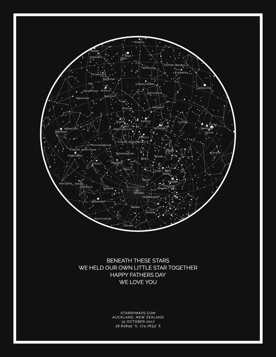 Night sky star map, black background, not framed, large